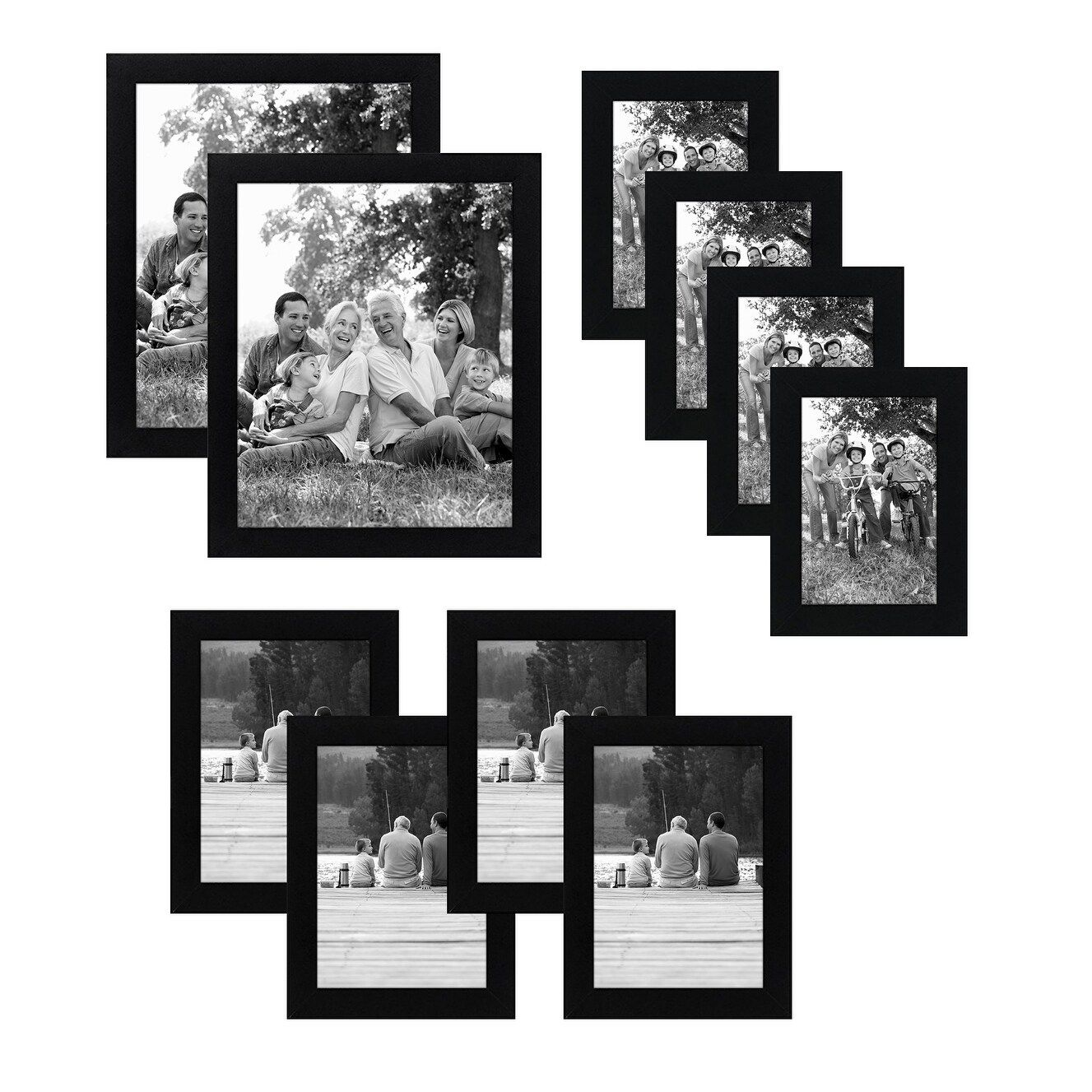 10 Piece Multipack Black Frames Includes Two 8x10 Frames Four 5x7 Frames And Four 4x6 Frames Americanflat Wood 4x6 Frames Picture Frame Sets Frame Set