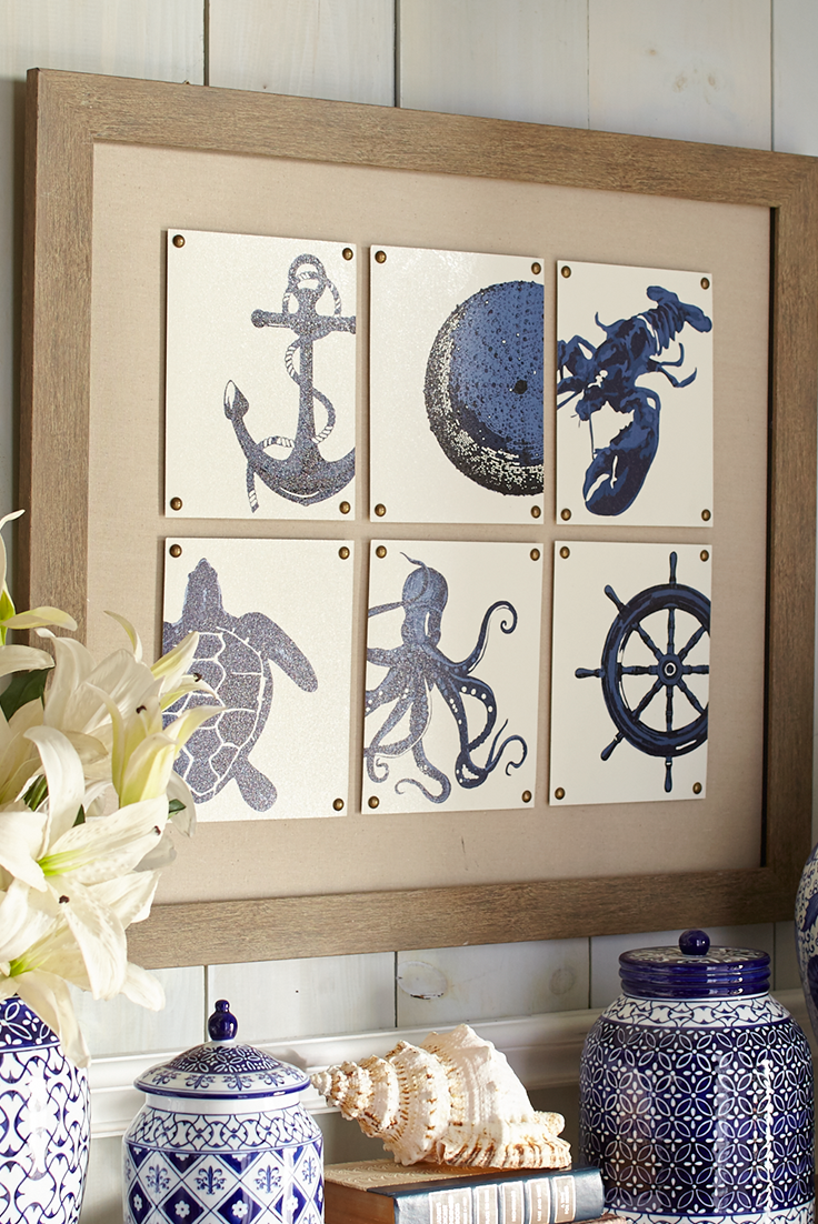 A collage of indigo nautical motifs on glass tiles in Pier 1\'s Sea ...