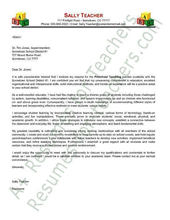 Preschool Teacher Cover Letter Sample   Application Letter Example - sample technology teacher resume