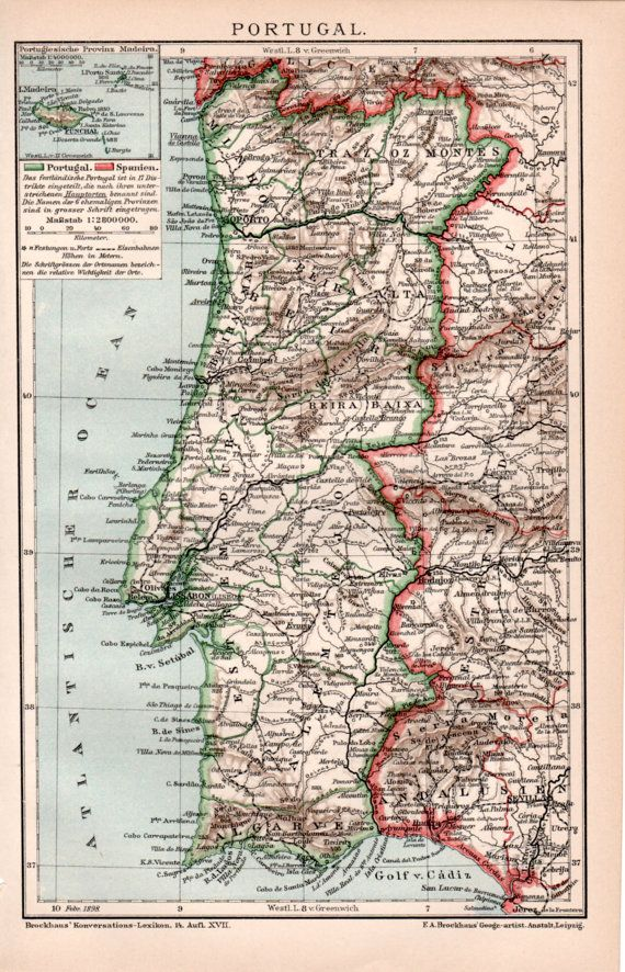 Portugal Antique Map Old Print Vintage By Craftissimo On Etsy - Portugal map to print