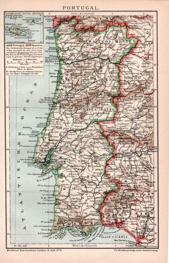 1898 Portugal Antique Map Old Print Vintage Lithograph Portuguese