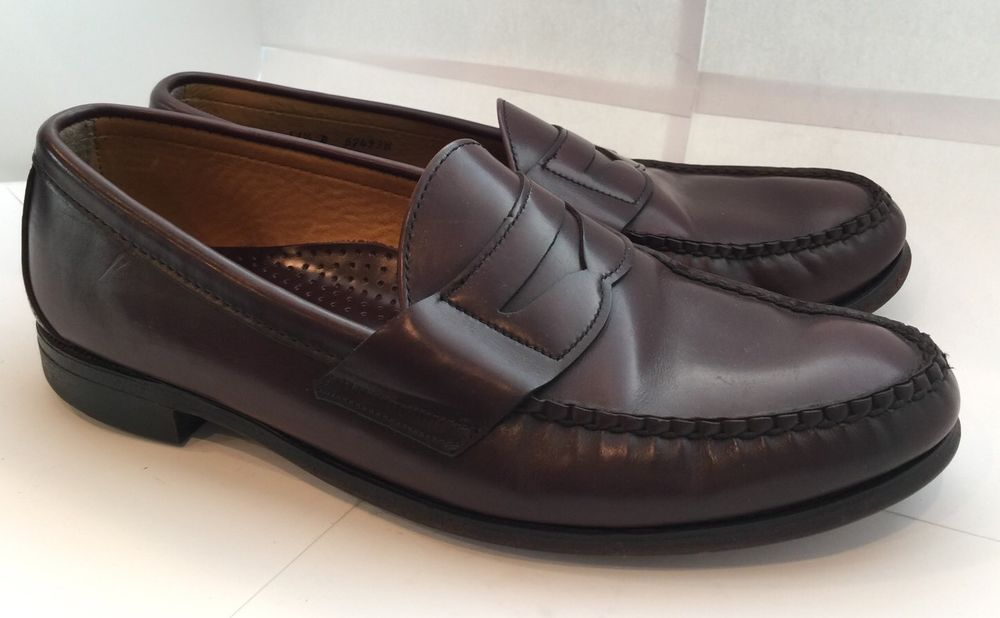 c0b3f9f5db8 Brooks Brothers 11.5 D Burgundy Leather Penny Loafers  57493W Made In USA   BrooksBrothers  LoafersSlipOns