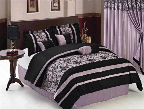7 Pcs Luxury Flocking Wild Floral Comforter Set Bed In A