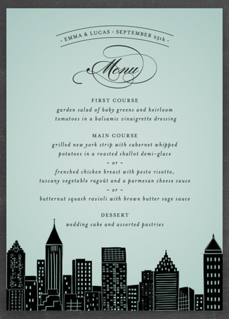 Add special touches to your wedding day with a metropolitan inspired menu card design from Minted.
