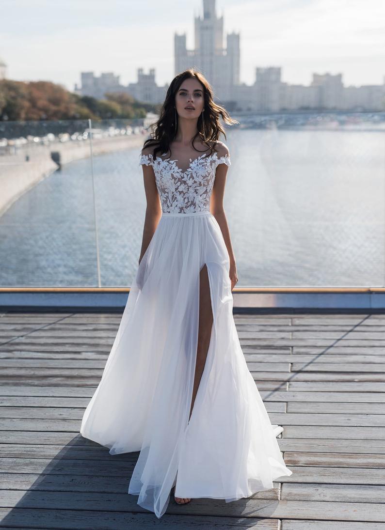 Off The Shoulders Wedding Dress Bridal Floral Dress Wedding Etsy Lace Top Wedding Dress Lace Top Wedding Cheap Wedding Dress Boho [ 1094 x 794 Pixel ]