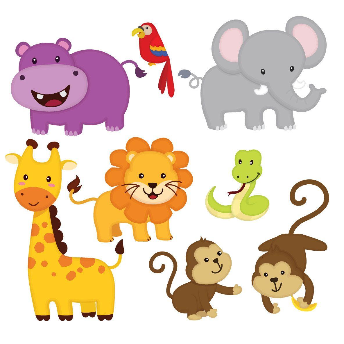 Jungle Animal Clip Art Jungle Friends Sticker Jungle Animal Etsy Cute Animal Clipart Animal Clipart Free Animal Clipart