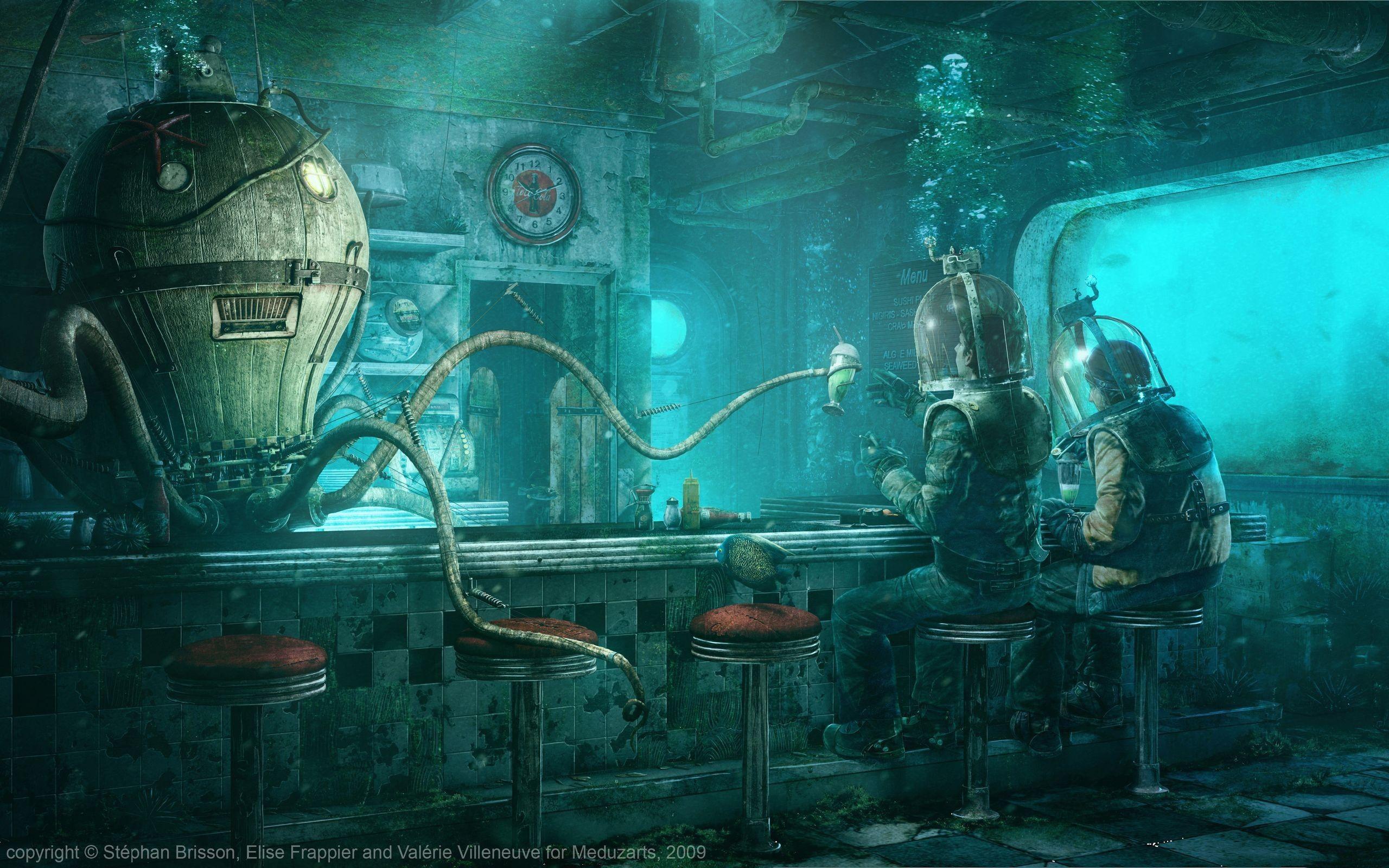 Bars Deep Sea Fantasy Art Underwater Wallpaper 2522983