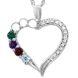 Kay - Color Stone Mother's Heart Necklace   Mother heart ...
