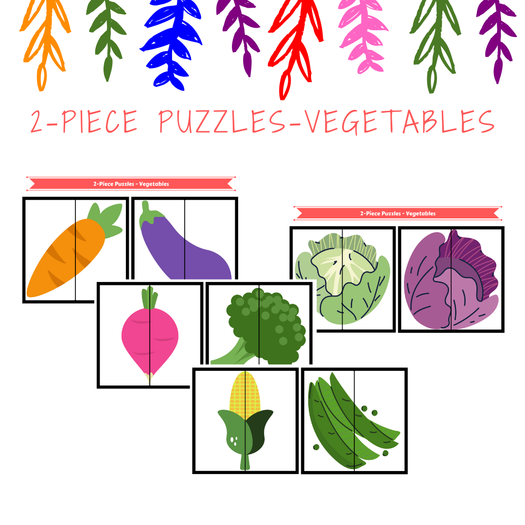 Free Printable 2 Piece Puzzles Vegetables Preschool Worksheets Free Printables Free Printable Puzzles Free Printable Activities [ 1080 x 1080 Pixel ]