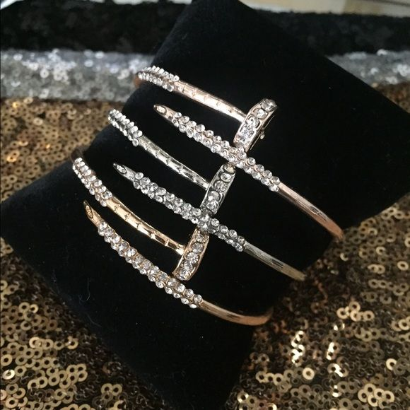 Crystal Nail Cuff Bracelet Silver Gold Rose Super Cool Piece Looks Like A But It S Little Bit More Dressy Due To The Detail Pick From