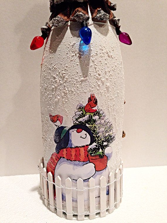 Decoupaged Bottle Christmas Decoration. by YndiraArtz on