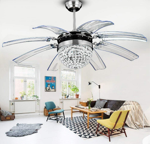 Tropicalfan Crystal Retractable Ceiling Fan With Remote