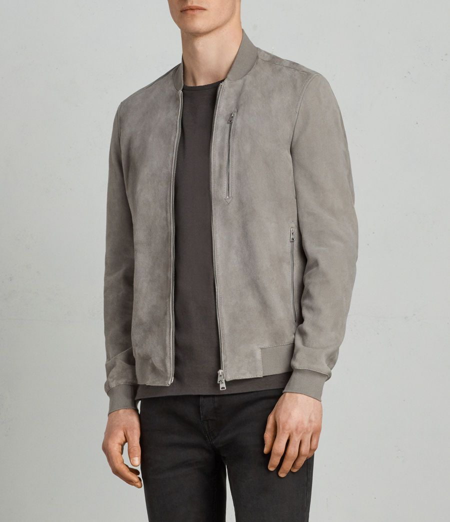 Mens Kemble Suede Bomber Jacket Soot Grey In 2021 Jackets Men Fashion Mens Outfits Leather Jacket Men [ 1044 x 900 Pixel ]