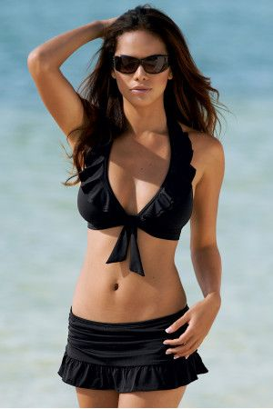 Someday...I will wear this on a beach with white sand and clear blue water! Ruffle halter skirted bikini swimsuit