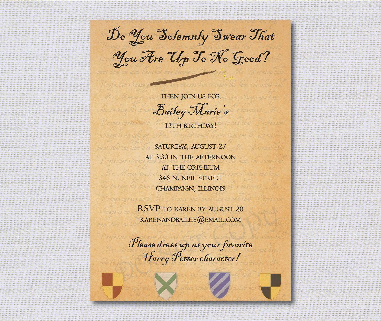 Birthday Party Invitations - Harry Potter Inspired - Marauder's Map - Set of 20 with Envelopes. $24.00, via Etsy.