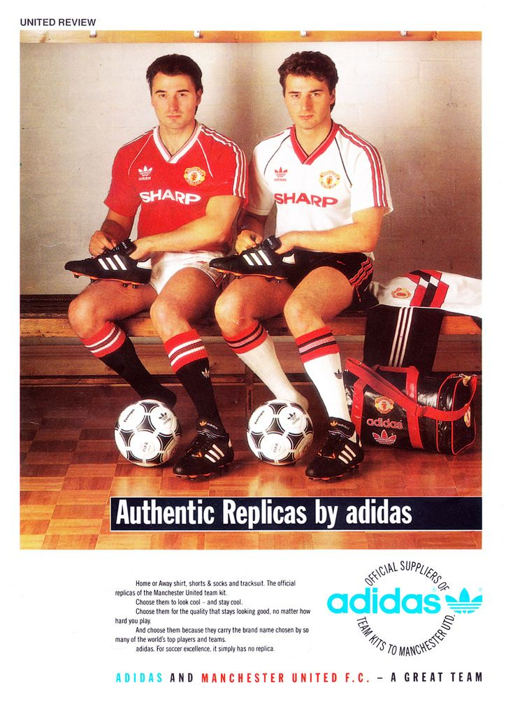 Adidas advert for manchester united kit c1987
