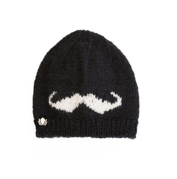 84b74129973d2 Mustache Slouchy Beanie with soft inner fleece lining