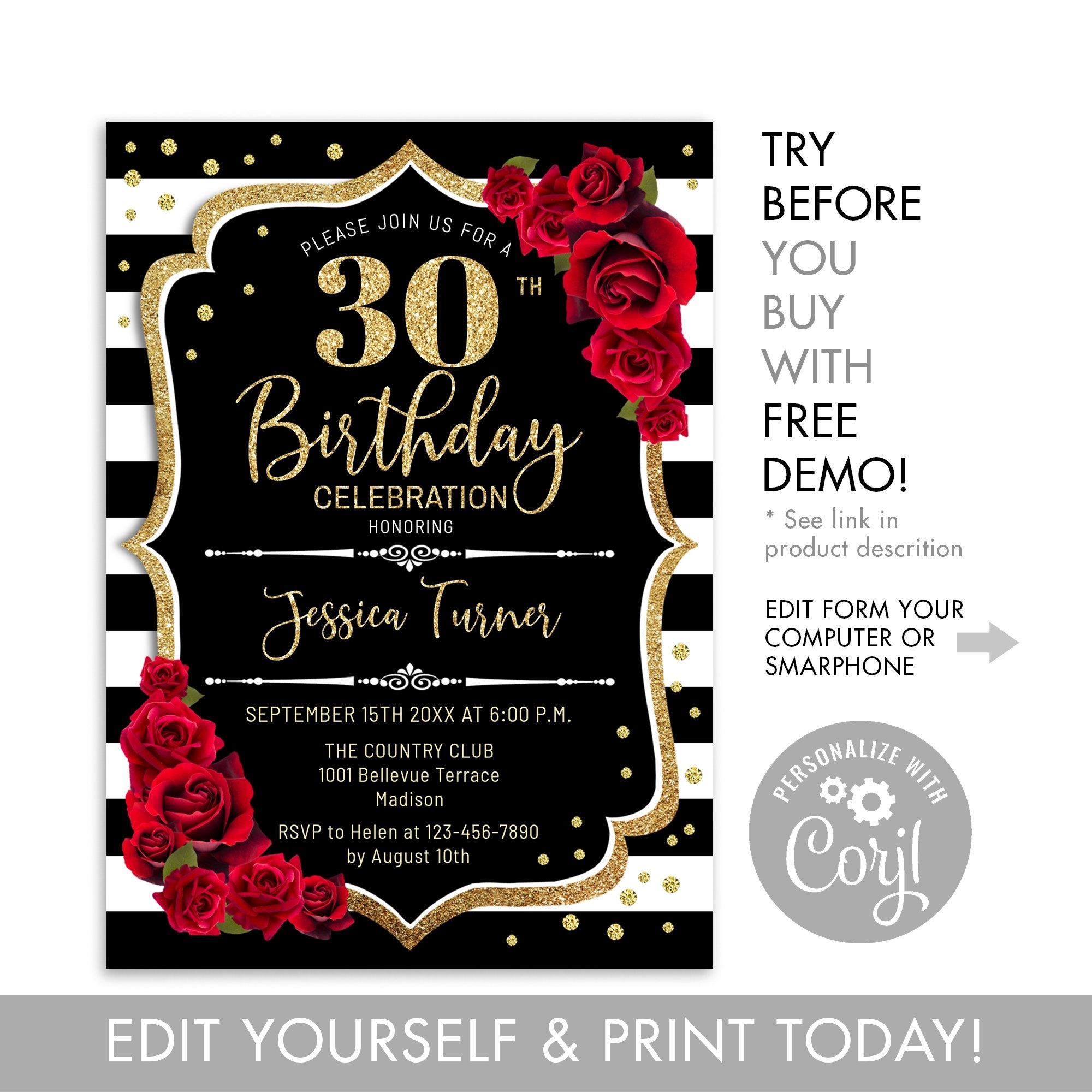 30th Birthday Invitation Instant Download Digital Template Any Age Black White Stripes Glitter Gold Red Roses Floral Birthday Invite 30th Birthday Party Invitations Printable Birthday Invitations 30th Birthday Invitations