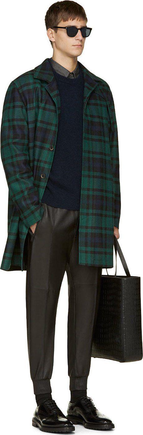 MSGM Blue & Green Plaid Coat: