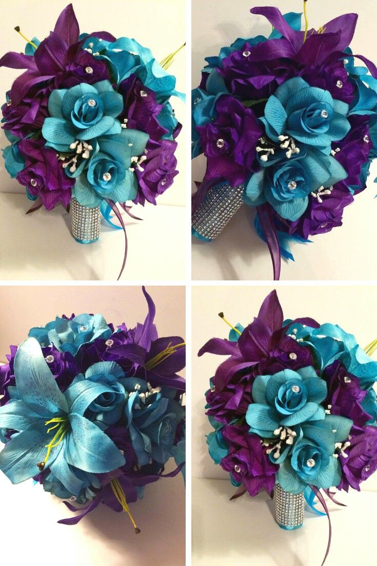 Round Bridal Bouquet Package Wedding Flowers Sets Purple Roses And Turquoise Lily With Groom