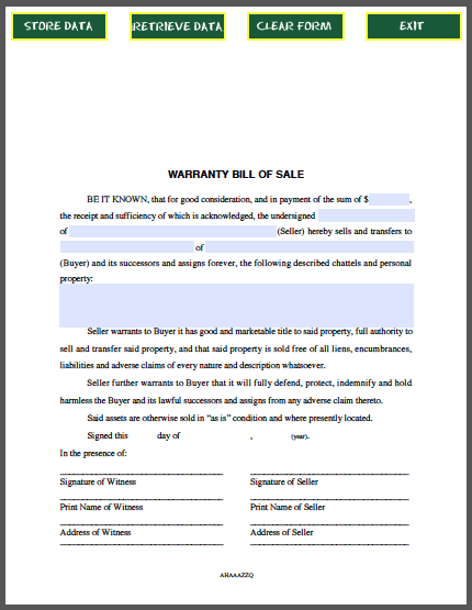 Warranty BillOfSale Form  Forms