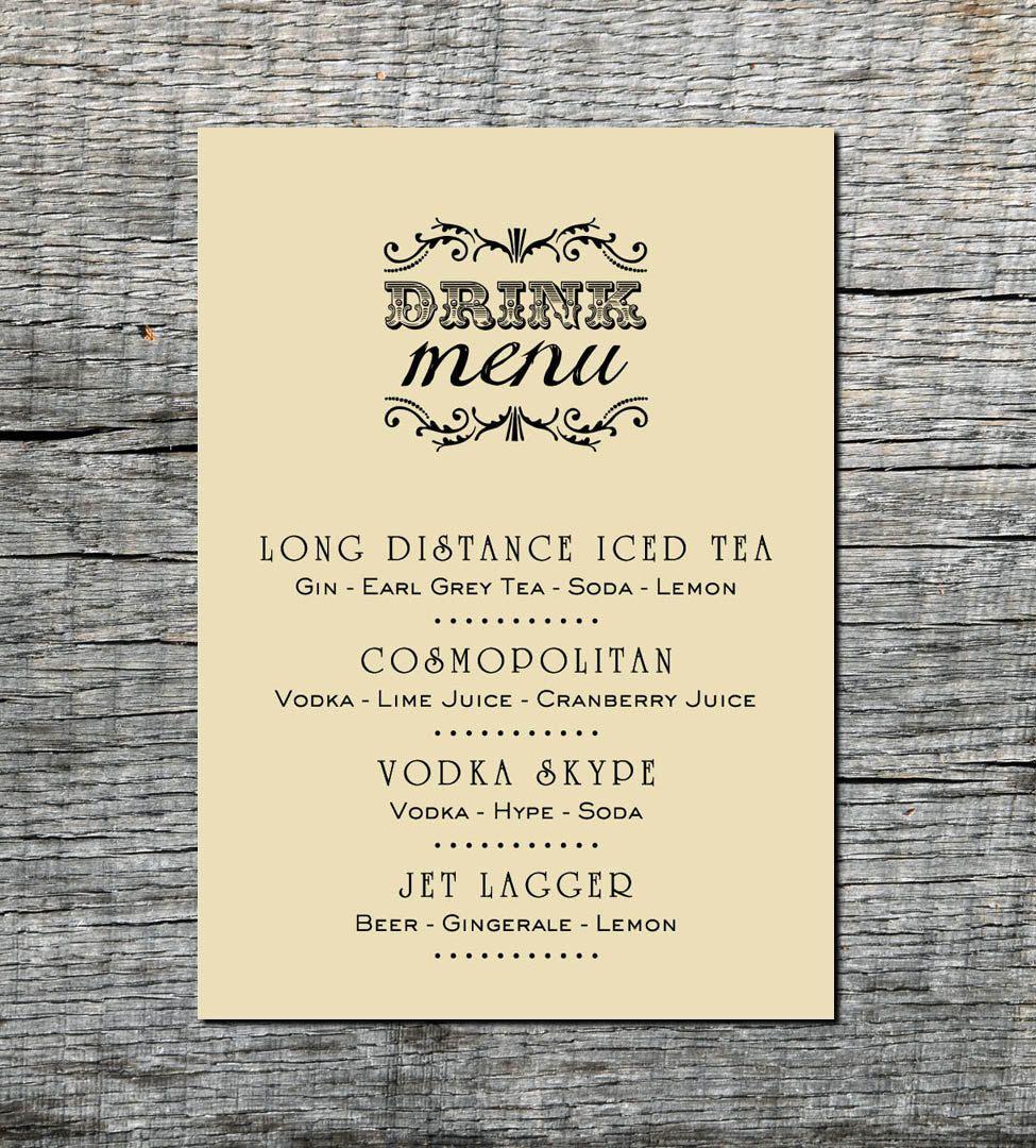 Drink Menu Card Custom Wedding Party Celebration Event Diy Printable