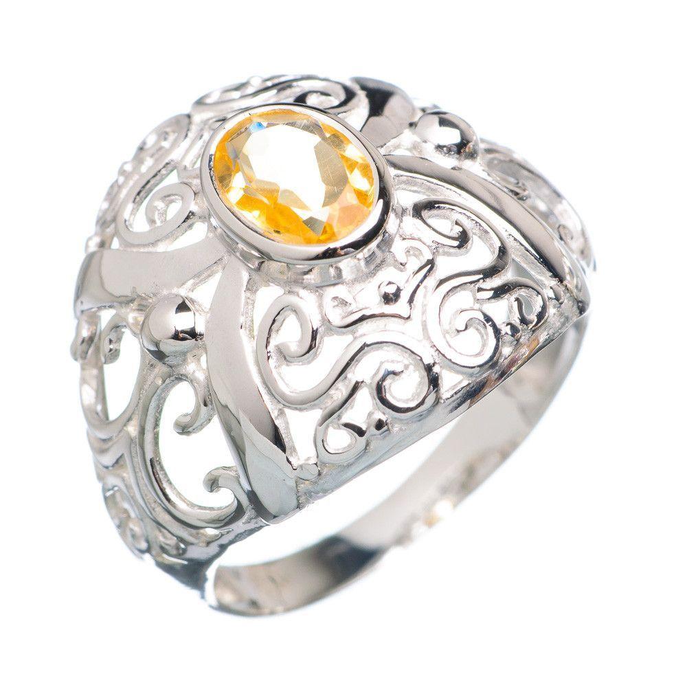 Faceted Lemon Quartz 925 Sterling Silver Ring Size 7.5 RING718927