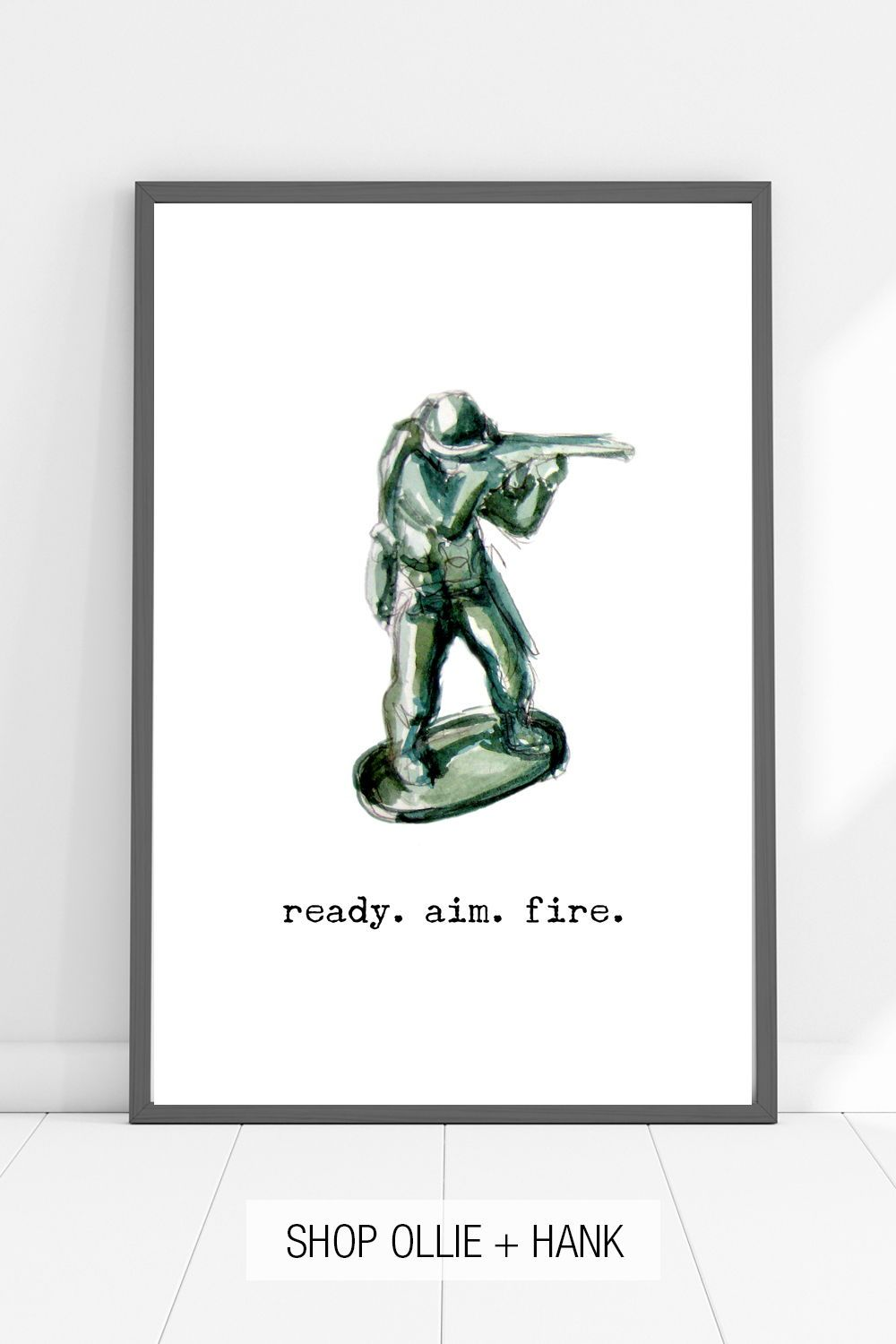 Kids Bathroom Wall Decor | Ready Aim Fire Sign