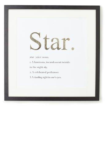 Festive Star Definition Gold Foiling Framed Print
