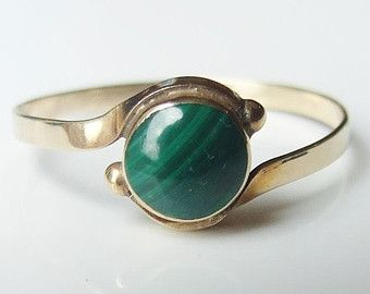 14ct Gold Green Malachite Solitaire Ring Size P 14k