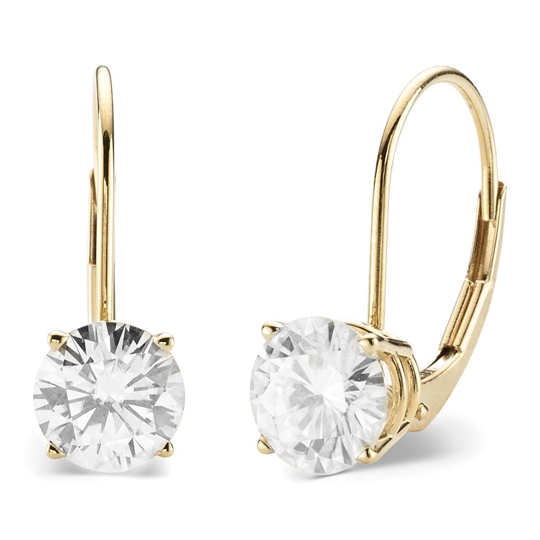 Charles Colvard 14k Gold 2 00 Tgw Round Forever Brilliant Moissanite Leverback Earrings