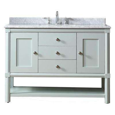 Sutton 48 In W X 22 In D Vanity In Rainwater With Marble Vanity Top In White Grey With White Basin Marble Vanity Tops Bathroom Furniture Bathrooms Remodel
