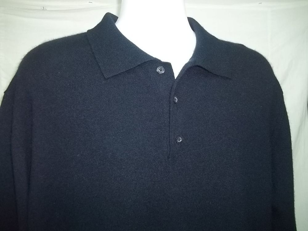 b7326396 Kirkland Signature 100% Cashmere Mens Polo Sweater Sz XL Navy Blue ...