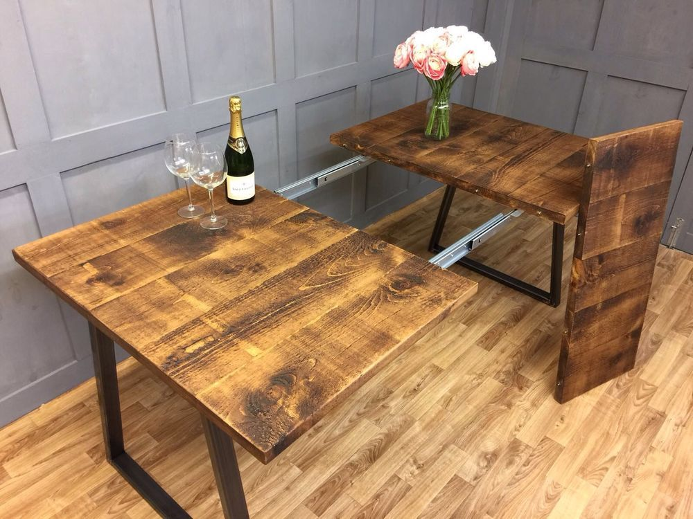 Details About Industrial Dining Table Rustic Antique Farmhouse Reclaimed Extendable Table Dining Table Rustic Industrial Dining Table Dining Table