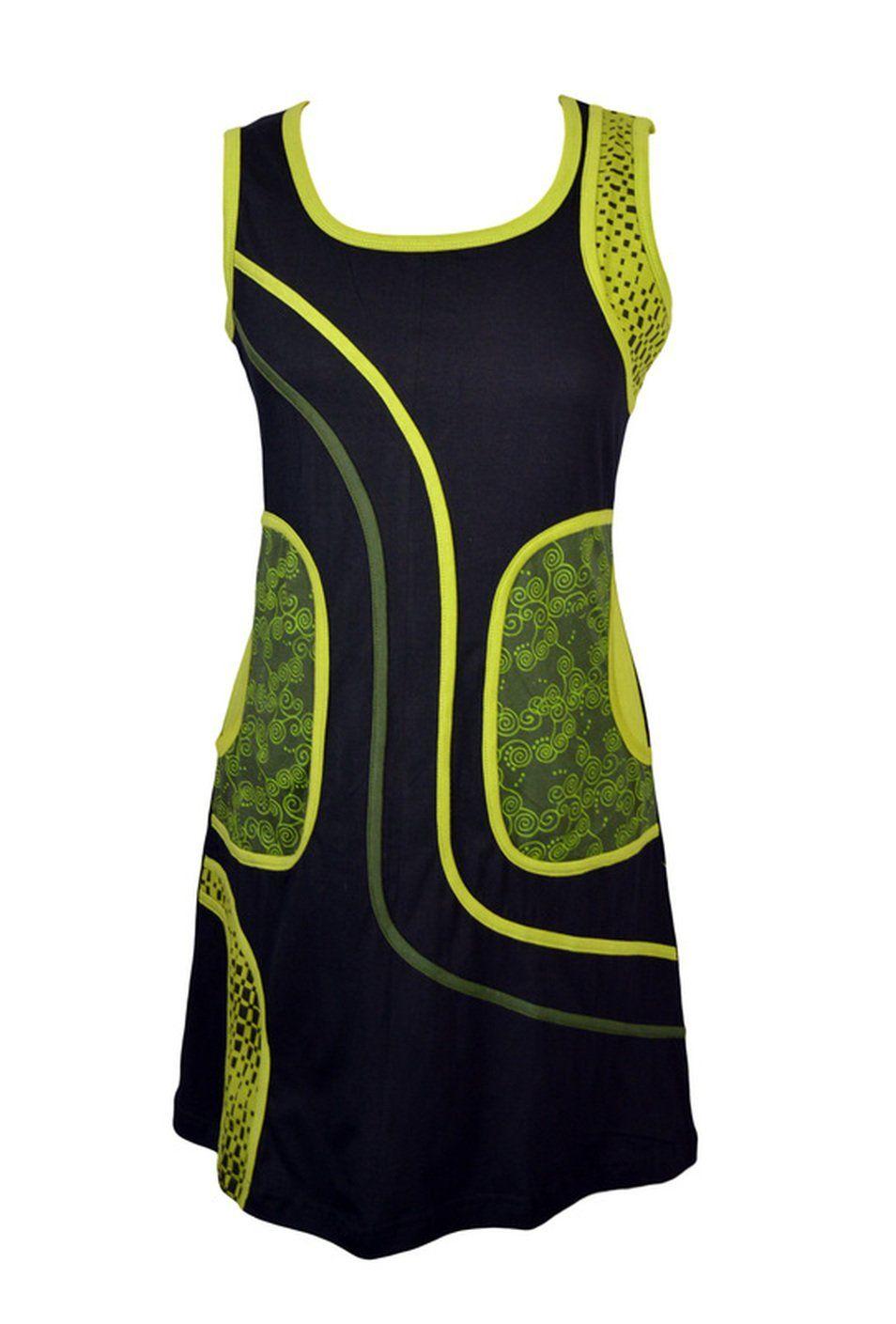 Frauen schwarz und grün ärmelloses Kleid mit Seitentasche ...