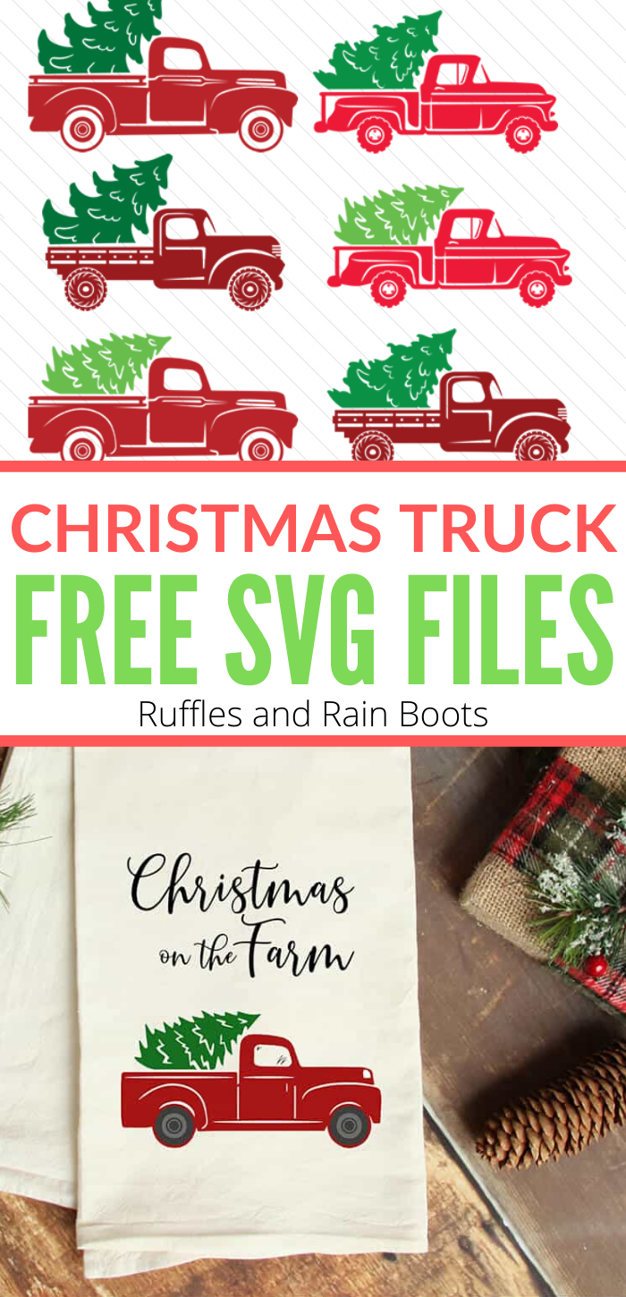Use these free Christmas truck SVG files and let the holiday crafting begin. From build-your-own to done-for-you, click through to get the free cut files. #ChristmasSVG #freeSVG #freecutfiles #cricut #silhouette #farmhouseChristmas