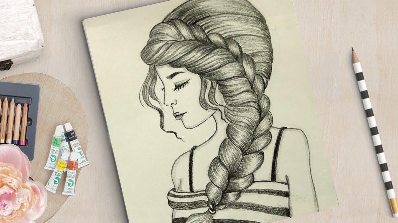 How To Draw A Girl With Beautiful Hairstyle Beautiful Girl Drawing Girl Drawing Girl Drawing Sketches Drawings