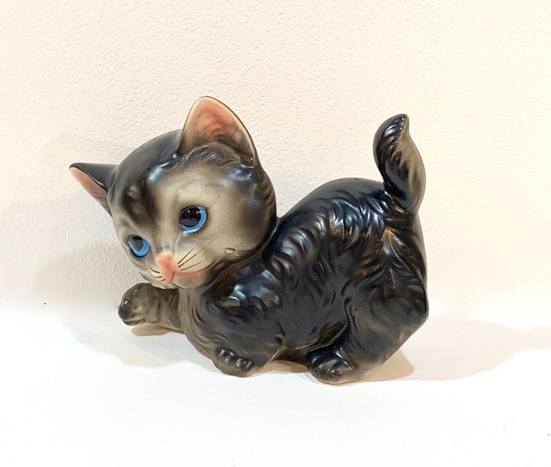 Vintage Kitten Figurine Playful Kitten Ceramic Kitten Cat Lover Mid Century 1950s Made In Japan Farmhouse Decor G Cat Lovers Granny Chic Farmhouse Decor