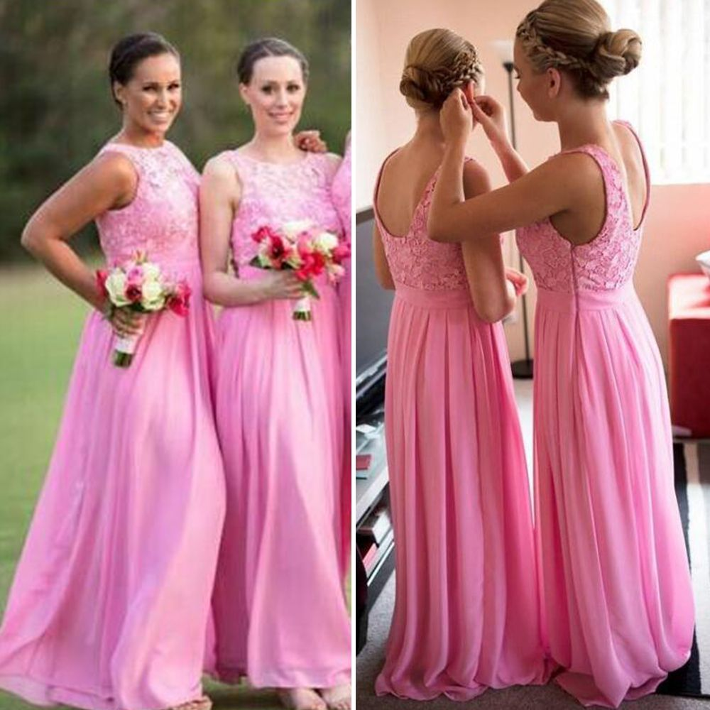 Find a Pretty Long Pink Bridesmaid Dresses Chiffon Lace Cheap ...