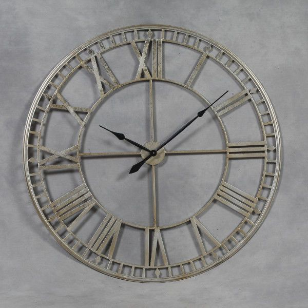 Huge Industrial Style Silver Skeleton Wall Clock Roman Numerals 120cm Skeleton Wall Clock Large Silver Wall Clock Large Metal Wall Clock