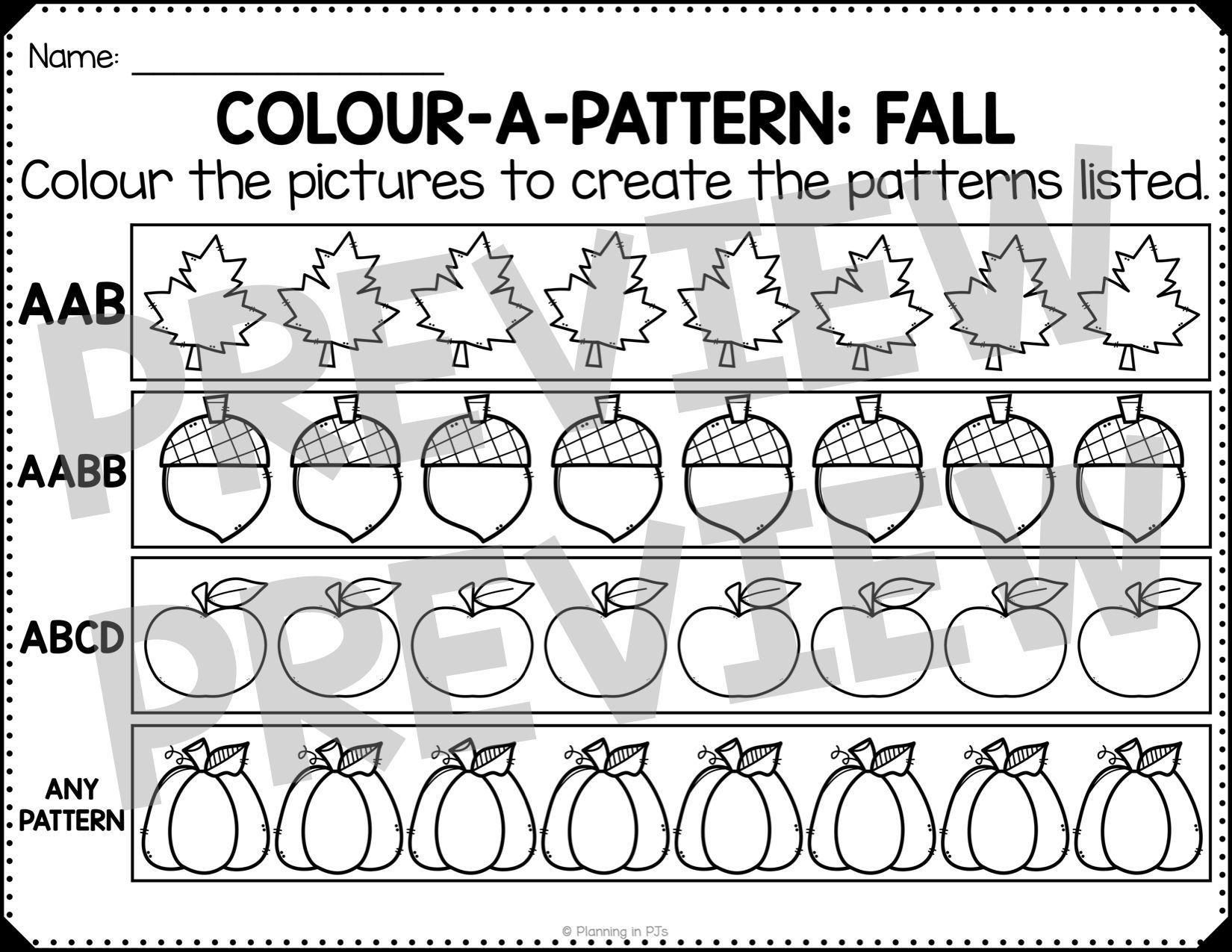 Fall Patterns Worksheets Freebie Pattern Worksheet Freebies Pattern Fall Patterns [ 1275 x 1650 Pixel ]