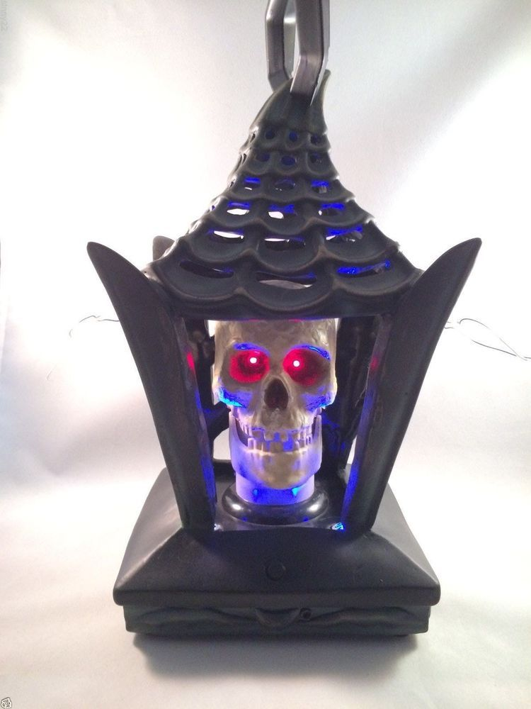animated head lights talking skull lantern gemmy halloween prop nib see video - Talking Skull Halloween