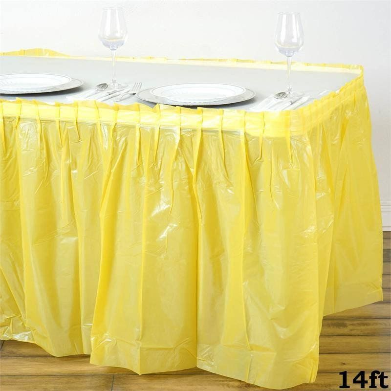 14ft Yellow 10 Mil Thick Pleated Plastic Table Skirts Disposable Table Skirt Spill Proof Plastic Tables Table Skirt Stylish Tables