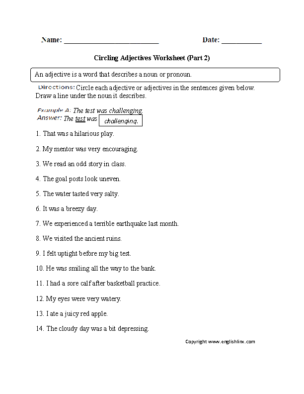 Circling Adjectives Worksheet Part 2 Intermediate | Englishlinx.com ...