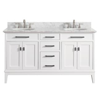 Avanity Madison 61 Inch Double Sink Vanity Combo In White With Top