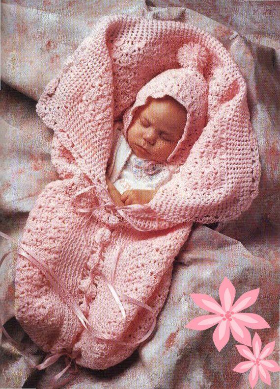 Vintage Crochet Pattern PDF to make A Baby Bunting Sleeping Bag or ...