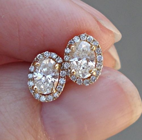 On 999 0 81 Carat Oval Diamond Earrings Halo 14k Modern Unique Solitaire Stud
