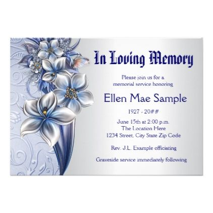 Elegant Blue Memorial Service Announcements  Elegant