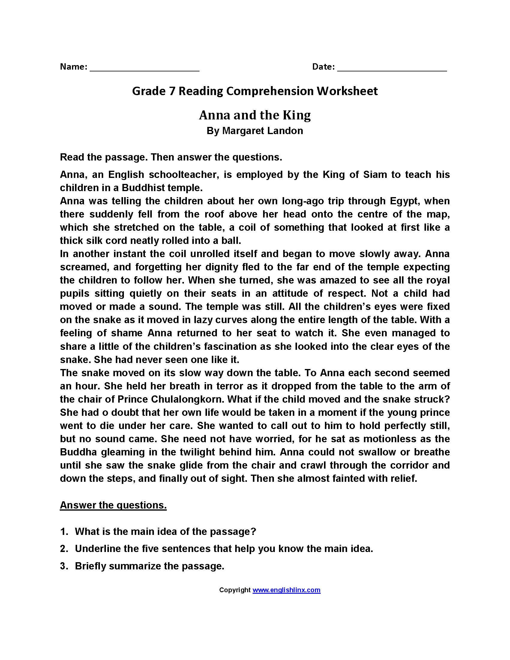 - Anna And The KingSeventh Grade Reading Worksheets Reading