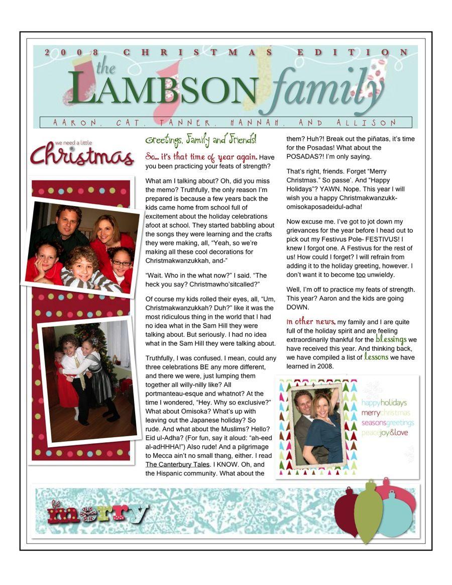 christmas family newsletter Christmas newsletter